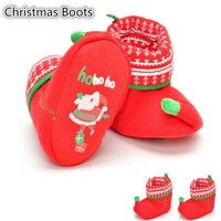 Wish | New Baby Newborn Red Christmas Boots Winter Warm Booties Toddlers Lovely Santa Claus Embroidery Non-Slip Prewalker Soft Sole Crib Shoes Cosplay Costume XMAS Gift