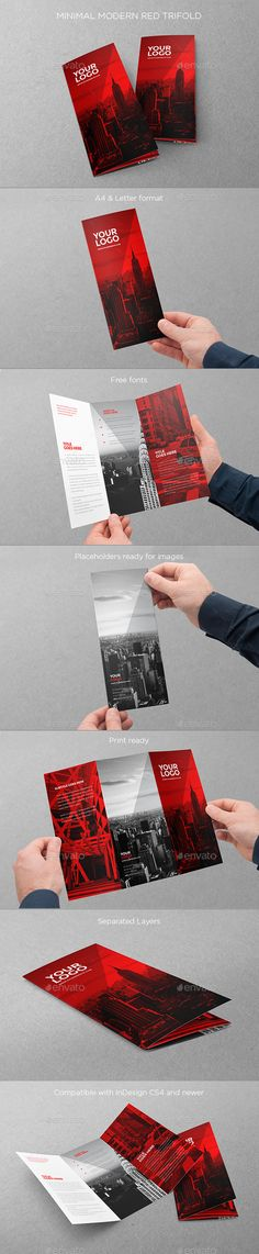 Minimal Modern Red Trifold Brochure Template #brochure #design Download: http://graphicriver.net/item/minimal-modern-red-trifold/11403554?ref=ksioks