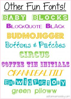 Other Fun Fonts -- Ask Anna  ~~  [9 free fonts - no individual links - but all from dafont.com]