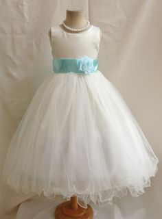 Wallao- Flower Girl Dress Curly Bottom Ivory with Blue Aqua for Easter Wedding Bridesmaid, $39.99 visit http://www.brides-book.com  for more great ideas