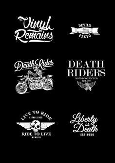 Skulls and Typos on Behance Jorge Peralta, Logo Creation, Motorcycle Clubs, Typo, Tattoo Designs, Prints, Vinyls, Skulls, Logos