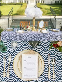 Dallas wedding photographer, Mary Fields Photography, stylized art deco glamour, great gatsby vintage styled wedding, navy and gold wedding reception decorations, wedding reception menu card, gold wedding reception centerpieces