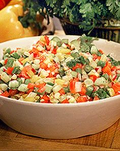 Alexis's Chopped Vegetable Salad - this salad is so good I would love to make it ahead and munch on it all weekend!