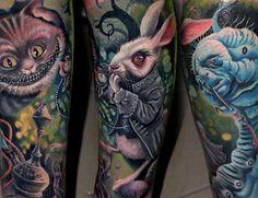 Alice in Wonderland tattoo by Csaba Müllner Forarm Tattoos, Time Tattoos, Music Tattoos, Leg Tattoos, Tatoos, Tattoo Thigh, Trendy Tattoos, Tattoos For Guys, Tattoos For Women