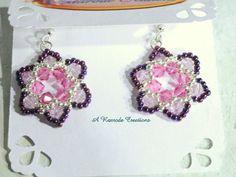 SALE - Beadweave Earrings  / Pink Flower Earrings / Seed Bead Earrings