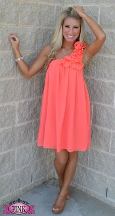 Coral one shoulder swing dress - Let Me See Your Dress Swing Dress $44.99