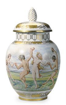 A GERMAN PORCELAIN BALUSTER VASE AND COVER,   BLUE PRINTED OVAL 'MEISSEN' OVER STAR MARK AND IMPRESSED UPPERCASE MARKS FOR BLOCH & CO, EICHWALD, CIRCA 1930,  continously painted with a bacchanal   14½in. (36cm.) high