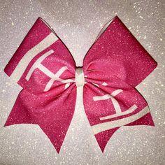 Items similar to Pink Football Awareness Sublimated Cheer Bow on Etsy Pink Cheer Bows, Cute Cheer Bows, Cheer Hair Bows, Cheer Mom, Cheer Coaches, Cheer Stunts, Cheerleading Stunting, Cheerleader Bows, Pink Football