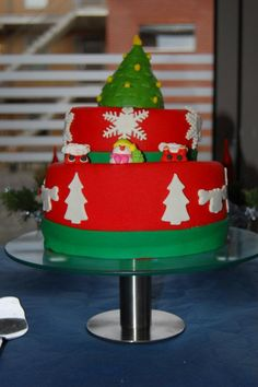 Christmas cake    Moscovisch cake with homemade buttercream. Topping and decorations are made of marzipan