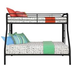 DHP Metal Twin over Full Bunk Bed ($192) ❤ liked on Polyvore featuring home, children's room, children's furniture and black