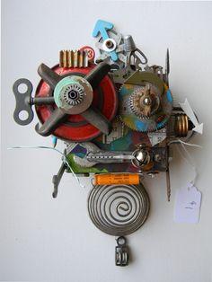 """Frankenbot"" -Recycled art collage    www.etsy.com/shop/redhardwick"
