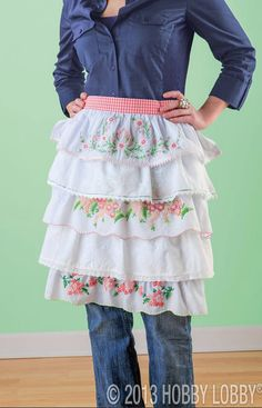 Use one of our ready-to-embroider pillowcase kits to make this darling vintage-inspired apron! Just follow Simplicity pattern #3752, adding the trims of your choice and altering the width of the ruffles to accommodate the embroidered designs. Perfect for Mother's Day!