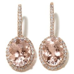 Rarities 3.45ct Pink Morganite and Diamond Earrings