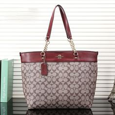 Coach Logo Monogram LZ729 Tote In Apricot/Red