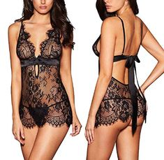 5fb7278e22acd AnloveKiss Women Sexy Lingerie Black Eyelash Lace Chemise Babydoll  Nightwear Set See-Through – Get Cheap Deals