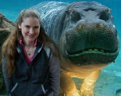 PsBattle: This woman and grinning hippopotamus posing together