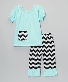 Take a look at this Teal & Black Chevron Top & Pants - Toddler & Girls today!