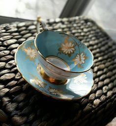 Antique Royal Stafford Blue Floral patterned tea cup and saucer set, English bone china tea set, wedding gift