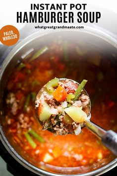 Cozy and comforting paleo and Whole30 hamburger soup made in the Instant Pot! Full of vegetables and healthy nutrients, and kids love it too. Make it with bone broth to make it even more nutritious! #instantpot #paleo #whole30 #glutenfree #dairyfree #paleosoup #whole30soup Dairy Free Recipes, Paleo Recipes, Real Food Recipes, Crockpot Recipes, Soup Recipes, Easy Recipes, Hamburger Soup, Paleo Soup, Quick Healthy Meals