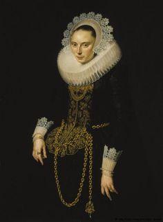Portrait of a young woman by Cornelis van der Voort (1576-1624)