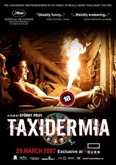 Taxidermia--the cover art should give you a hint. This movie is pretty gross, lots of vomiting, eating contests, and perverted weirdos but it's definitely entertaining and the end is just as strange and gross as the rest of it.