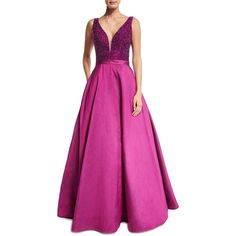 Jovani Sleeveless Embellished Silk Taffeta Ball Gown (1,575 BAM) ❤ liked on Polyvore featuring dresses, gowns, magenta, a line dress, beaded dress, pink evening gowns, beaded gown and pink a line dress