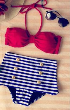 Items similar to Michigan Retro High Waist Swimsuit (Red Top and Blue & White Stripped Bottom) S, M on Etsy
