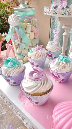 Pretty cupcakes at a mermaid under the sea birthday party! See more party ideas at CatchMyParty.com!