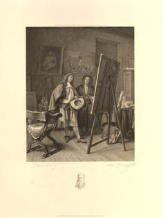 'L'amateur (The Conaisseur)', 1881, by Auguste Thomas Marie Blanchard after Ernest Meissonnier. A nobleman visiting an artist in his studio; both men are looking at an easel standing in the foreground; paintings hung on the walls; with remarque of a head portrait of Meissonier.