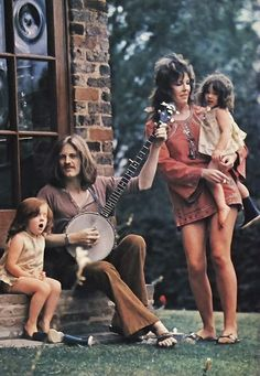 Led Zeppelin's John Paul Jones relaxing with his family, 1971