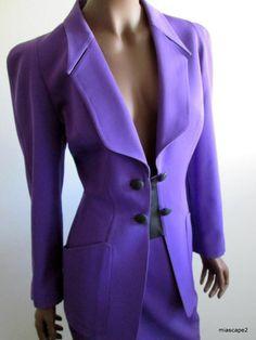 Vtg THIERRY MUGLER Paris *POWER Suit* Blazer Skirt Purple Worsted Wool WOW! 40 S
