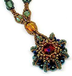 Rivoli Urchin Necklace Class B 2012  #beadwork