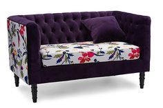 Baxton Studio Freya Purple Velvet and Beige Linen Floral Loveseat  sc 1 st  Pinterest : affordable modern sectionals - Sectionals, Sofas & Couches