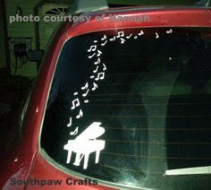 Piano Car decal with music notes by southpawcrafts on Etsy, $8.00