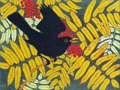 'Blackbird and Rowan' by Robert Gillmor (linocut)