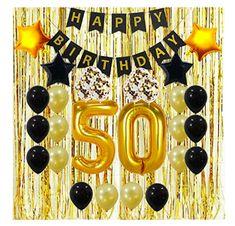 6 x Age 50 Hanging Swirls Blue Silver Glitz Mens 50th Birthday Party Decoration