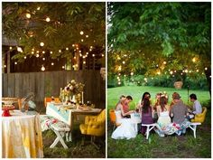 Outdoor party lights - string lights in trees.  LOVE how these are just draped in the lowest branches as a canopy of light over the table.