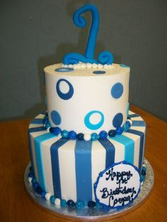 First Birthday Cake - Blue Fondant Accents