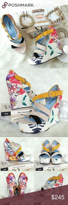 "♡HP♡ STUDIO POLLINI floral print wedge platforms Studio Pollini Floral Print Wedge Sandal with colorblock tri-color suede straps at front (blush, mustard, black). Multicolor tropical floral print. Suede strap. Leather lining. Textile covered wedge. Rubber outsole.  Wedge height approximately 5? wedge w/ 1.25"" platform.  Size: IT 39 / US 9 Made in Italy.  NWB. Never worn. Comes with original box and dust bag. Can provide more pictures and info upon request. Studio Pollini Shoes"