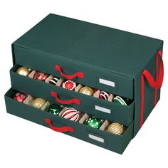 Perfect for storing your cherished ornaments and glass decor, this essential organizer features 3 drawers, convenient handles and 54 compartments.