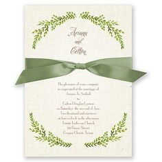 A naturally beautiful, green leaf crest wraps your wording in the soft touch of nature. A burlap background adds a nice sense of contrast between rustic and elegant. We've enhanced the look and feel of these wedding invitations with ribbon, which is available in your choice of color. Your names and wedding date appear on the back with a matching leaf crest. Your wording is printed in your choice of colors and fonts. Satin ribbon comes precut and ready for tying around the invitation…