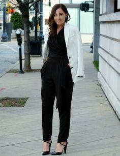 black jumpsuit & white blazer