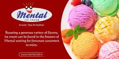 Boasting a generous variety of flavors, ice cream can be found in the freezers of Mental waiting for fortunate customers to enjoy.