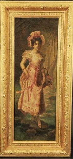 Lot: Oil on Canvas on Gold Leaf Frame by Hans Zatzka, Lot Number: 0462, Starting Bid: $3,000, Auctioneer: Royal Antiques, Auction: European Furniture & Decorative Arts, Date: July 27th, 2017 CDT
