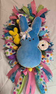 Easter Bunny Plush Peep Wreath, Easter Wreath, Easter Decor, Easter Swags, Door Decor by PamelaHillCreations on Etsy Easter Peeps, Easter Bunny, Easter Decor, Easter Crafts, Bunny Plush, Easter Wreaths, Spring Crafts, Door Wreaths, Homemade Gifts
