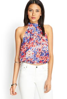 Watercolor Floral Keyhole Top | FOREVER21 #SummerForever