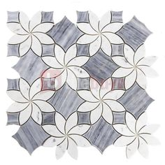 Bardiglio Grey and Carrara White Marble Waterjet Mosaic Tile in Floral Marble Mosaic, Carrara Marble, Mosaic Tiles, Wall Tiles, Mosaics, Mosaic Wall, Marble Floor, H Design, Floral Design