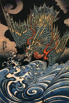 """"" Dragon"" Artist Utagawa Kuniyoshi. Woodblock print. About 1840,s, Japan"""