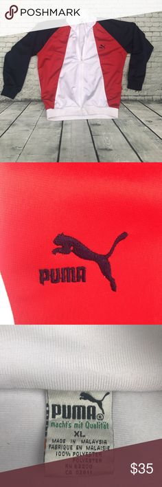 Vintage puma track jacket full zip men's Amazingly beautiful vintage puma polyester track jacket .... fits medium - smaller lg best ... colors are red white , and a very dark blue , as it looks black .... 9/10 condition , although I see no issues ... Puma Jackets & Coats Performance Jackets