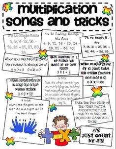 "Multiplication songs teaching-classroom-ideas If a student struggles this is a good trick. Wouldn't use this at first though, I want them to understand multiplication not the ""cheat"" Math Resources, Math Activities, Multiplication Songs, Math Songs, Math Fractions, Multiplication Anchor Charts, Third Grade Math, Grade 3, Raising Boys"